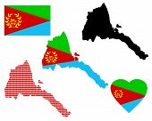 picture of eritrea  - map of Eritrea and the different types of characters on a white background - JPG