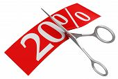 Scissors and 20% (clipping path included)