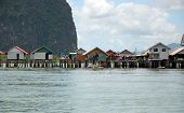 The floating village of sea gypsies Koh Panyee in the Andaman Sea, Thailand