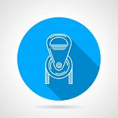 picture of pulley  - Flat round blue vector icon with white contour climbing or construction pulley on gray background - JPG