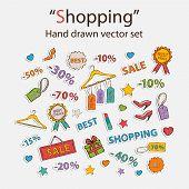 Vector shopping set.