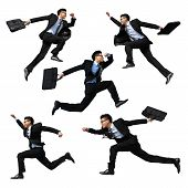 image of winner man  - Successful business man jump and run isolated with white background full length asian male - JPG