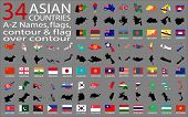 34 Asian Countries - A-Z Names, flags, contour and map over contour