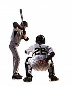 Two isolated on white professional baseball players
