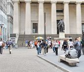 Federal Hall With Washington Statue On The Front, Manhattan, New York City