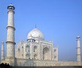stock photo of mausoleum  - Taj Mahal  white Marble mausoleum during sunset - JPG