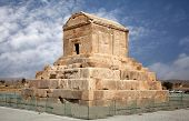 Tomb Of Cyrus The Great In Pasargad Against Blue Sky With White Clouds