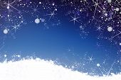 Star And Snow Winter Background