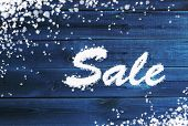 Winter Sale Background On Wooden Surface