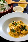 pic of curry chicken  - chicken curry with boiled rice and spices - JPG