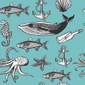 Hand drawn vintage nautical seamless pattern