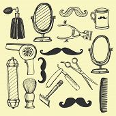 pic of barber razor  - Hand drawn retro barbershop set - JPG