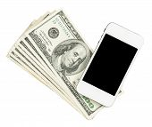 Smartphone Lying On The United States Dollars, Isolated On A White
