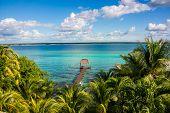 Bacalar Lake At Caribbean. Quintana Roo Mexico, Traveling Riviera Maya.