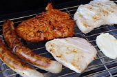 Meat on electric bbq grill