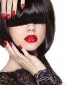 Manicured Nails. Red Lips. Black Bob Hairstyle. Brunette Girl With Short Healthy Hair Isolated On Wh
