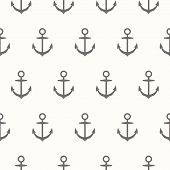 Nautical Theme. Seamless Pattern With Silhouette Of Anchors