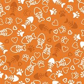 Seamless Pattern With Cat Paw Prints, Fish Bone And Hearts. Orange Background