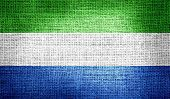 Sierra Leone flag on burlap fabric