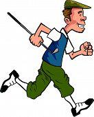 Cartoon golfer in traditional clothing