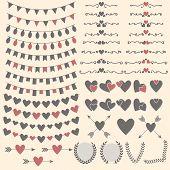 Wedding Set Of Hearts, Arrows, Garlands, Laurel, Wreaths And Labels. Valentine's Day Design