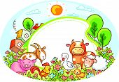 pic of farm landscape  - Oval frame with farm animals - JPG