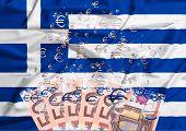50 Euro Banknote Dissolving As A Concept Of Economic Crisis In Greece