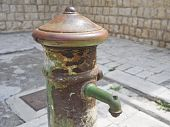 Closeup of an old fountain.