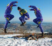 Jump Happy Man. Winter.