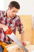Handyman Using Saw.