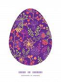 Vector colorful garden plants Easter egg sillhouette frame card template