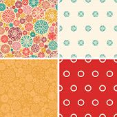Vector abstract decorative circles set of four marching repeat patterns backgrounds