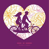 stock photo of tandem bicycle  - Vector flowers outlined couple on tandem bicycle heart silhouette frame pattern greeting card template graphic design - JPG