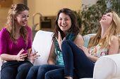 foto of laugh  - Three pretty friends laughing on meeting - JPG