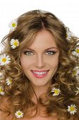Beautiful Young Woman With Daisies In Hair