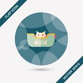 pic of flat-bed  - Pet Bed Flat Icon With Long Shadow - JPG