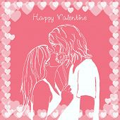 Couple kissing valentine card