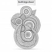 Henna Paisley Doodle Floral Design Element.