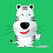 Tricky White Bengal Tiger Gartoon Character