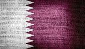Qatar flag on burlap fabric