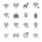 foto of antenna  - Wifi wireless local network internet connection access points icons set with antenna black abstract isolated vector illustration - JPG
