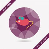 Pet Mouse Flat Icon With Long Shadow,eps10