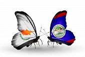 Two Butterflies With Flags On Wings As Symbol Of Relations Cyprus And Belize