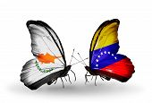 Two Butterflies With Flags On Wings As Symbol Of Relations Cyprus And Venezuela