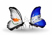 Two Butterflies With Flags On Wings As Symbol Of Relations Cyprus And Honduras