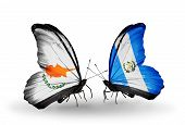 Two Butterflies With Flags On Wings As Symbol Of Relations Cyprus And Guatemala