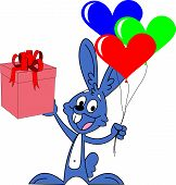 foto of rabbit year  - Funny rabbit with a gift in one hand and his balls in the shape of a heart in the other hand - JPG