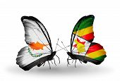 Two Butterflies With Flags On Wings As Symbol Of Relations Cyprus And Zimbabwe