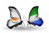 Two Butterflies With Flags On Wings As Symbol Of Relations Cyprus And Sierra Leone