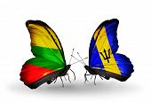 Two Butterflies With Flags On Wings As Symbol Of Relations Lithuania And Barbados